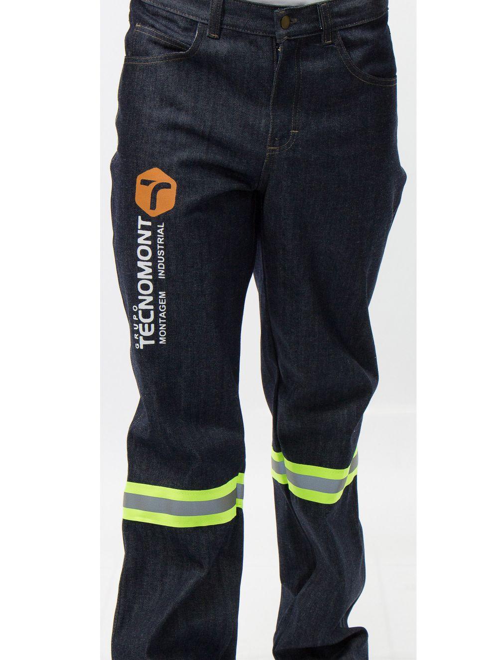 Calça operacional em Jeans com refletiva